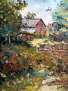 Shed Painting Prints - Grandpas Barn Print by Lee Piper