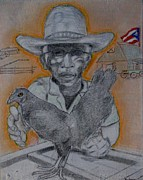 Puerto Rico Mixed Media Originals - Grandpas Chickery by Ismael Alicea-Santiago