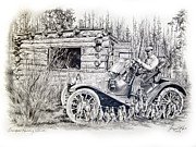 Duck Hunting Drawings - Grandpas Hunting Shack by Jonni Hill