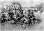 Hdr Look Digital Art Framed Prints - Grandpas Intriguing Junk - BW HDR Framed Print by Janice Sakry