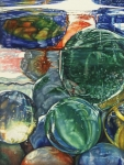 Marbles Paintings - Grandpas Marble Jar by Tracy Male