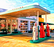 Service Station Paintings - Grandpas Texaco by Michael Pickett