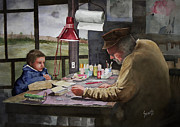 Boy Painting Framed Prints - Grandpas Workbench Framed Print by Sam Sidders