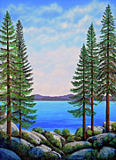 Lake Tahoe Paintings - Granite Boulders Lake Tahoe by Frank Wilson
