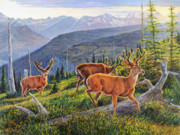 Deer Prints - Granite Park Bucks Print by Steve Spencer