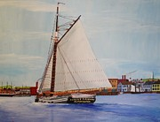 Bill Hubbard Framed Prints - Granite Sloop Albert Baldwin in Boston Harabor 1900 Framed Print by Bill Hubbard