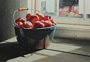 Shed Painting Posters - Graniteware Apples Poster by Nancy Teague