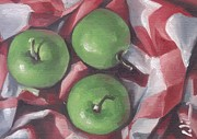 Fruit And Wine Paintings - Granny Smith Country Green Apples by Cynthia G Wilson