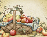 Apples Mixed Media - Grannys Basket by Beverly Levi-Parker