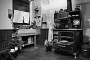 Antique Wood Burning Stove Prints - Grannys Kitchen - bw Print by Marilyn Wilson