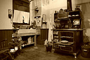 Antique Wood Burning Stove Prints - Grannys Kitchen - sepia Print by Marilyn Wilson