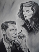 Katherine Hepburn Paintings - Grant and Hepburn by Sasha Alexandra Art
