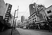 Orpheum Theatre Prints - granville street shopping are at the orpheum theatre home of the vancouver symphony Vancouver BC Can Print by Joe Fox