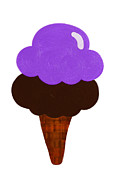 Ice Cream Cones Prints - Grape And Chocolate Ice Cream Print by Andee Photography