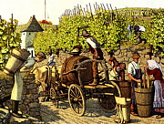 Grape Vineyards Posters - Grape Harvest 1890 Poster by Padre Art