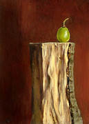Lebensmittel Framed Prints - Grape on Wood Framed Print by Ulrike Miesen-Schuermann