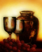 Wine Glasses Mixed Media Prints - Grape Still Life Print by Wishes and Whims Originals By Michelle Jensen