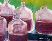 Wine-bottle Pastels - Grape Stomp Residuals Pastel by Antonia Citrino