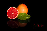 Grapefruit On Black Background