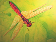 Grape Leaf Prints - Grapeleaf Dragonfly Print by Liisa Rush