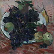Modern Russian Art Posters - Grapes and apple Poster by Juliya Zhukova