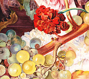 Flower Design Painting Posters - Grapes and Flowers Poster by Irina Sztukowski