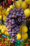 European Markets Posters - Grapes and lemons - fresh fruit Poster by Matthias Hauser