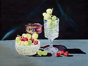 Wine Reflection Art Painting Prints - Grapes and Raspberries Print by Jennifer Calhoun