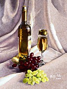 Wine Grapes Drawings Posters - Grapes and wine Poster by Judy Skaltsounis