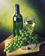 White Grapes Paintings - Grapes and Wine by Kim Lockman