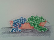 Blue Grapes Drawings - Grapes by Emese Varga