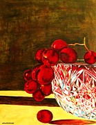 Quad Painting Prints - Grapes in a Crystal Bowl Print by Margaret Newcomb