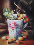 Grapes Art Originals - Grapes in a Cup by Nathalie Beck