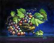 Blue Grapes Painting Posters - Grapes in a Footed Bowl Poster by Jane Bucci