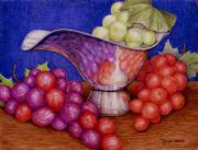 Food Pastels Framed Prints - Grapes on Silver Framed Print by Tanja Ware