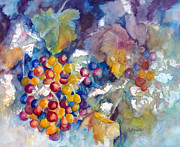 Wineries Paintings - Grapes on the Vine by Carolyn Jarvis