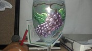 Painted Wine Glass Glass Art Originals - Grapes On Vine by Dan Olszewski