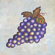 Purple Grapes Framed Prints - Grapes One Framed Print by Linda Mears