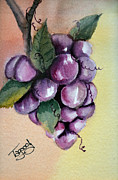 Grapevine Red Leaf Painting Posters - Grapes Poster by Tricia Gooch