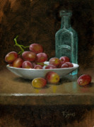 Bottle Painting Posters - Grapes with Antique Bottle Poster by Timothy Jones