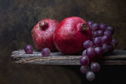 Harvest Photo Metal Prints - Grapes with Pomegranates Metal Print by Tom Mc Nemar