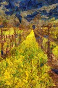 Winery Digital Art Posters - Grapevines and Mustard Poster by Alberta Brown Buller