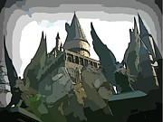 Magicians Digital Art Metal Prints - Graphic HogWarts Castle Metal Print by John Malone