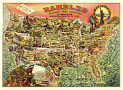 Antique Map Digital Art Posters - Graphic Illustrated USA Poster by Gary Grayson