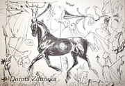 Horse Images Drawings Posters - Graphic thoughts- black arabian horse  Poster by Dorota Zdunska