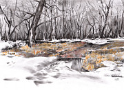 Snow Scene Drawings Originals - Grass Island by Paul Davenport