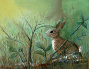 Bunny Paintings - Grass Rabbit by Terry Lewey