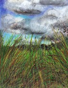 Cloudy Day Drawings - Grass  by Ranka Lazarevic