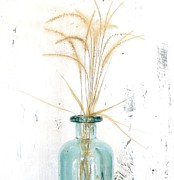 Floral Still Life Prints - Grasses in a Bottle Print by Marsha Heiken