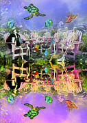 Chairs Mixed Media Framed Prints - Grateful Get Together Framed Print by Betsy A Cutler East Coast Barrier Islands